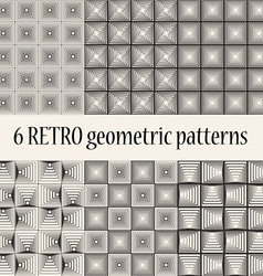 6 retro geometric seamless patterns vector