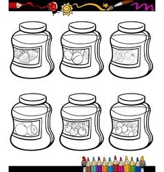 Jams in jars set cartoon coloring book vector