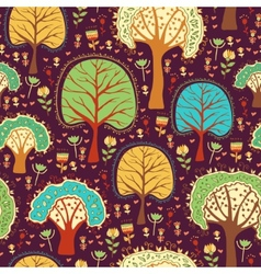 Forest wallpaper with cartoon trees vector