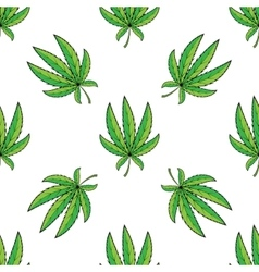 Seamless retro pattern cannabis green leaf vector