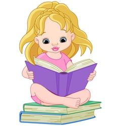 Ittle girl reading a book vector