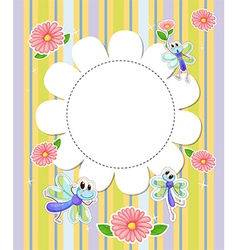 A stationery template with flowers and butterflies vector