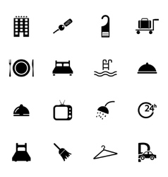 Black hotel icons set vector