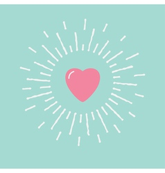 Big pink shining heart flat design vector