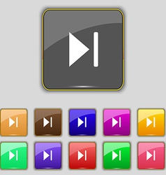 Next track icon sign set with eleven colored vector