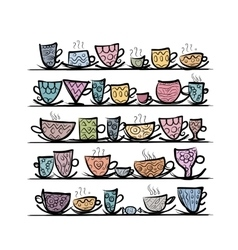 Ornate mugs on shelves sketch for your design vector