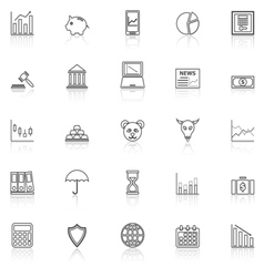 Stock market line icons with reflect on white vector