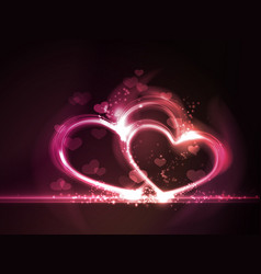 Red pink glowing hearts frame vector