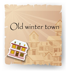 Old paper card with cartoon house vector