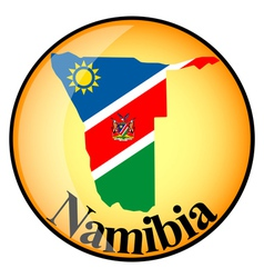 Orange button with the image maps of namibia vector