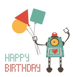Cute birthday card with robot vector