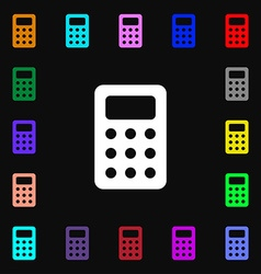 Calculator bookkeeping icon sign lots of colorful vector