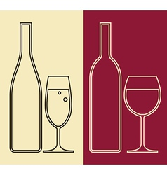 Bottles and glasses of wine and champagne vector