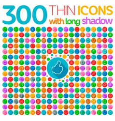 300 thin icons with long shadow vector