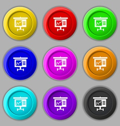Graph icon sign symbol on nine round colourful vector