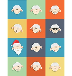 Flat sheep icons set vector