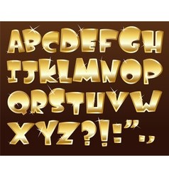 Gold alphabet vector