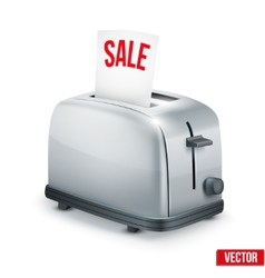Bright metal toaster with message sale isolated on vector