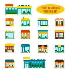 Store building icons set vector