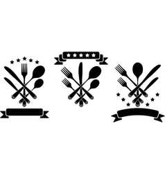 Cutlery with ribbons vector