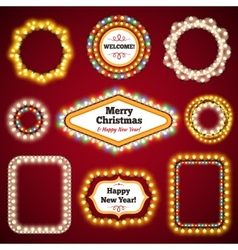 Christmas lights frames with a copy space set3 vector