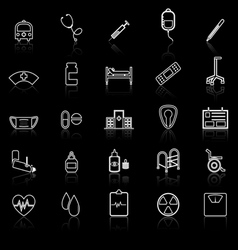 Hospital line icons with refelct on black vector