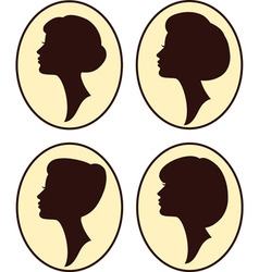 Vintage womans silhouettes vector