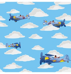 Retro airplanes flying vector