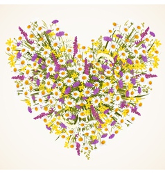 Wild flower heart vector
