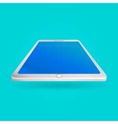 White tablet with empty screen isolated on blue vector