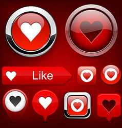 Love high-detailed modern buttons vector