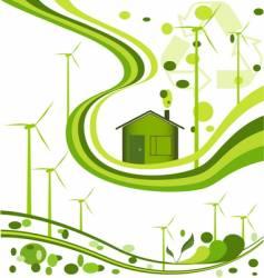 Wind farm background vector