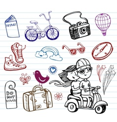 Journey set of funky doodles vector