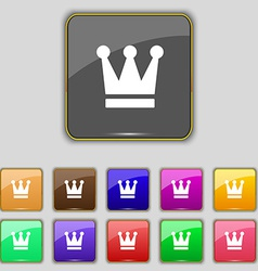 King crown icon sign set with eleven colored vector