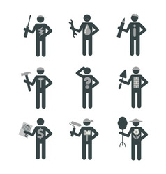 House remodel service worker set stick figure vector