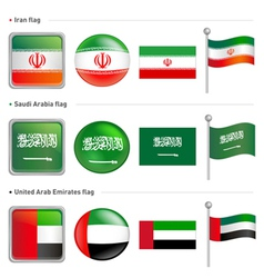 Iran saudi arabia flag icon vector