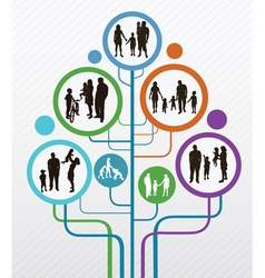 Abstract tree with family silhouettes vector