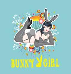 Sexy pin up bunny girl vector