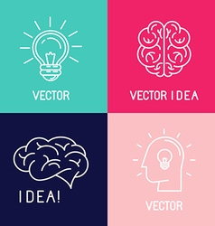 Brain logo design elements vector