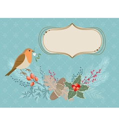 Christmas card with robin bird vector