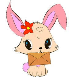 Cute bunny with envelope vector