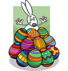 Easter bunny and eggs cartoon vector