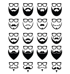 Beard and glasses hipster icons set vector