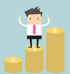 Businessman standing on gold coin vector
