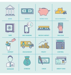 Bank service icons flat line vector