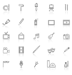 Art line icons with reflect on white vector
