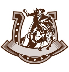 Rodeo cowboy riding bronco horse horseshoe vector
