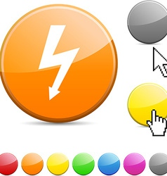 Warning glossy button vector