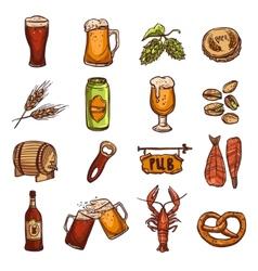 Beer sketch set vector