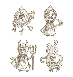 Halloween monsters isolated spooky cartoon vector